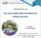 THÔNG BÁO TỔ CHỨC SEMINAR KHOA HỌC THÁNG 12/2019